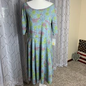 LuLaRoe Nicole Dress Floral Pattern 3XL